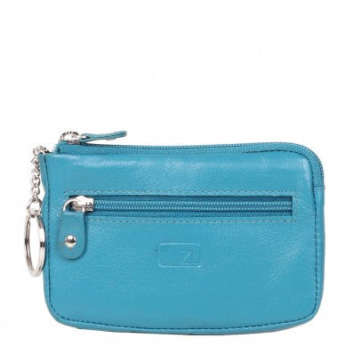 ZOOMLITE Classic Leather Boston Zip Key Holder Turquoise