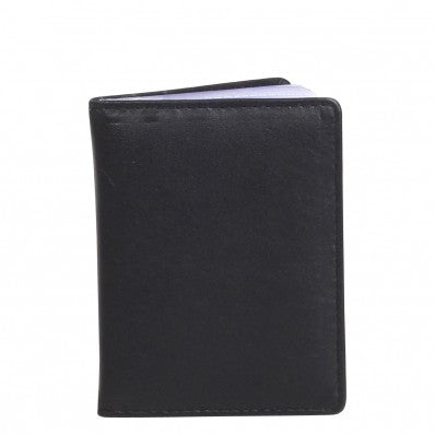 ZOOMLITE Classic Leather RFID Boston Card Holder with Inserts Black