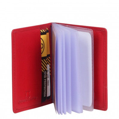 ZOOMLITE Classic Leather Boston Card Holder with Inserts Red