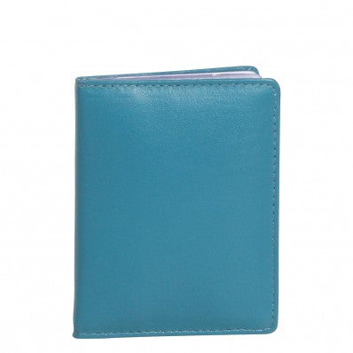 ZOOMLITE Classic Leather Boston Card Holder with Inserts Turquoise