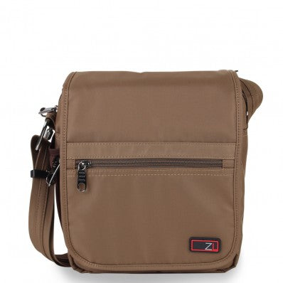 ZOOMLITE ANTI-THEFT FLAP MESSENGER BAG KHAKI BROWN