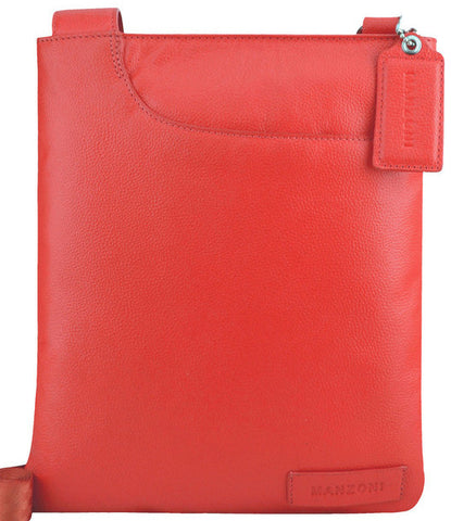 MANZONI Leather Crossbody Bag A128 Red