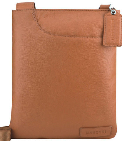 MANZONI Leather Crossbody Bag A128 Tan Brown