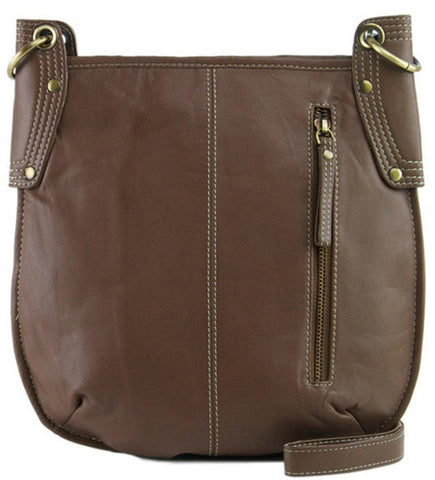 MANZONI Leather Crossbody Bag A132 Cocoa Brown