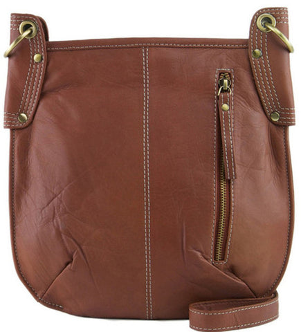 MANZONI Leather Crossbody Bag A132 Tan Brown