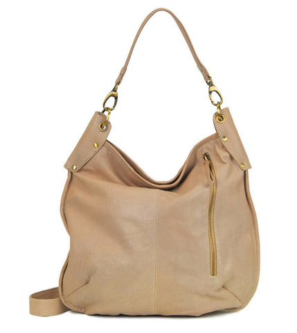 MANZONI Leather Hobo Bag A133 Biscuit Tan Brown with FREE WALLET