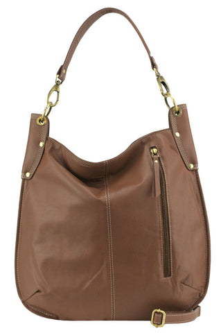 MANZONI Leather Hobo Bag A133 Cocoa Brown with FREE WALLET