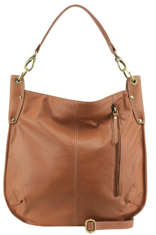 MANZONI Leather Hobo Bag A133 Tan Brown with FREE WALLET