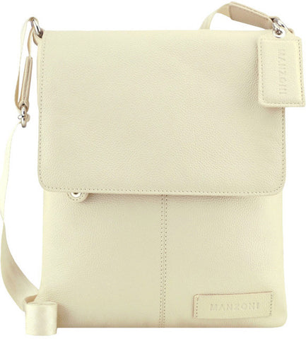 Manzoni Leather Sling Shoulder Bag A191 Ivory