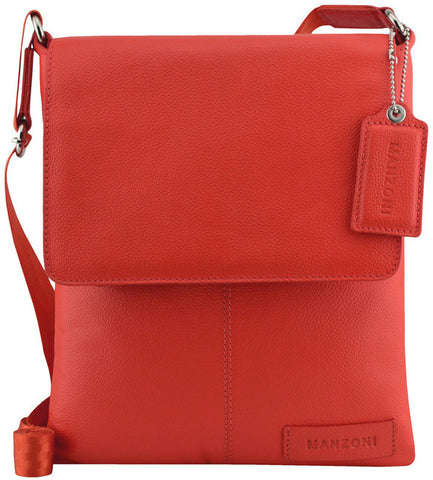 Manzoni Leather Sling Shoulder Bag A191 Red