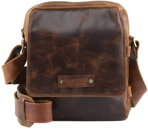 MANZONI Leather Distressed Crossbody Bag A205 Tan with FREE WALLET
