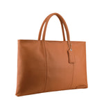 MANZONI Leather Folio Briefcase Tote A399 Tan with FREE WALLET