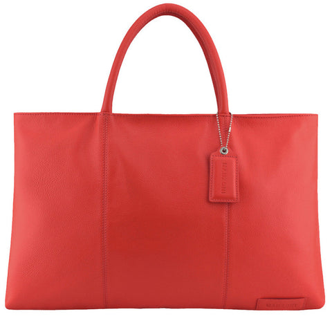 MANZONI Leather Folio Briefcase Tote A399 Red with FREE WALLET