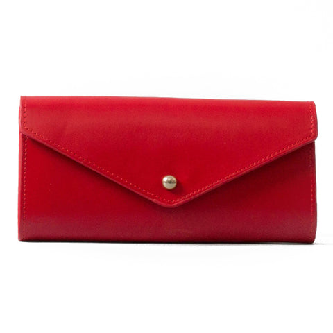 Paperthinks Recycled Leather Envelope Wallet Scarlet Red