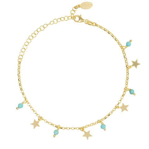 Latelita London Turquoise Star Gemstone Bracelet Gold