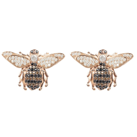 Latelita London Honey Bee Stud Earrings Rosegold