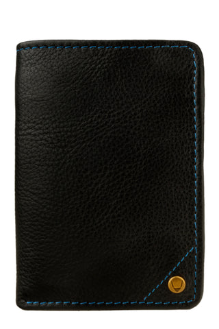 Hidesign Angle Stitch Leather Slim Trifold Wallet Black