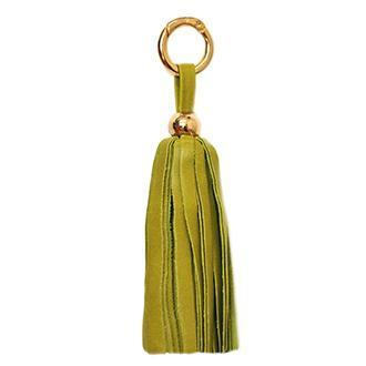 ClaudiaG Leather Tassel Keyring Bag Charm Lime Gold