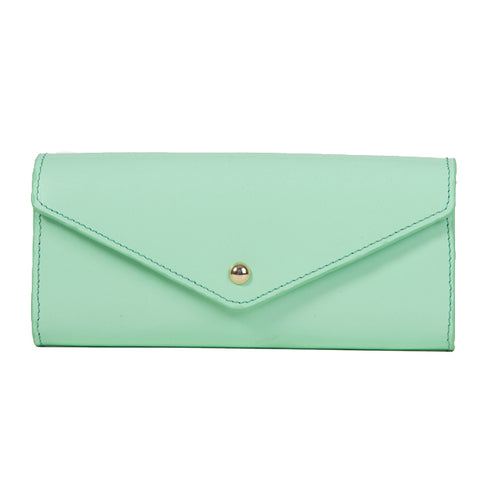 Paperthinks Recycled Leather Envelope Wallet Pistachio Green