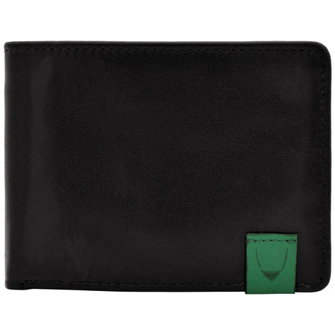 Hidesign Dylan Slim Thin Simple Leather Bifold Wallet Black