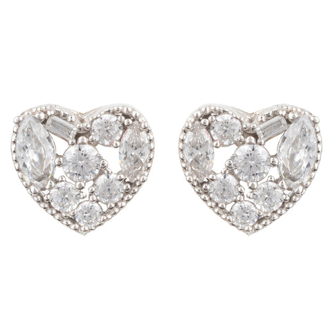 Latelita London Heart Sparkling Stud Earrings Silver