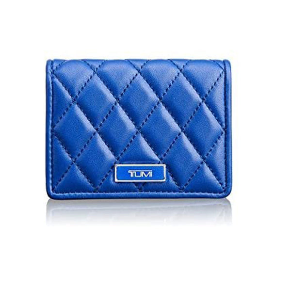 Tumi Montague Leather Tri Fold Card Case Wallet Blue
