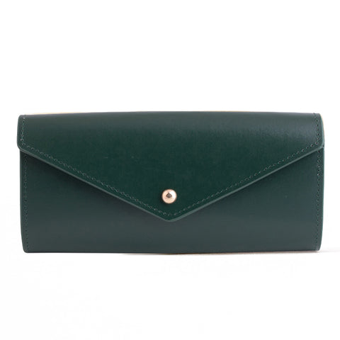 Paperthinks Leather Envelope Wallet Deep Olive Green