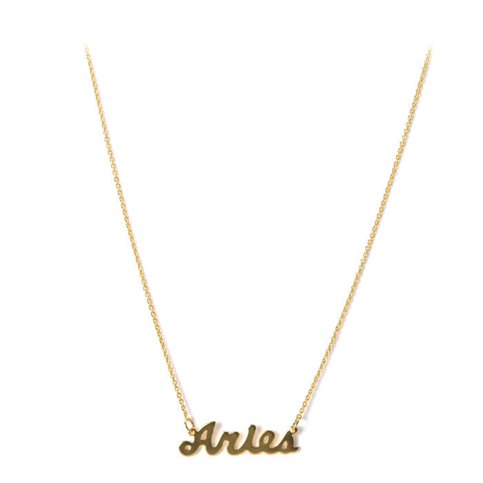 gold amano necklace zodiac online products script studio amanoaries designer sign calligraphy