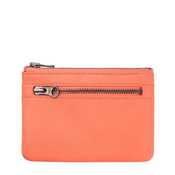 STATUS ANXIETY ANARCHY LEATHER WALLET CORAL ORANGE