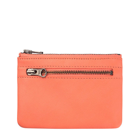 STATUS ANXIETY ANARCHY LEATHER Pouch WALLET CORAL ORANGE