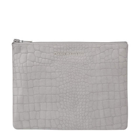 STATUS ANXIETY Antiheroine Leather Clutch Grey Croc Emboss