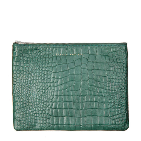 STATUS ANXIETY Antiheroine Leather Clutch Teal Croc Emboss