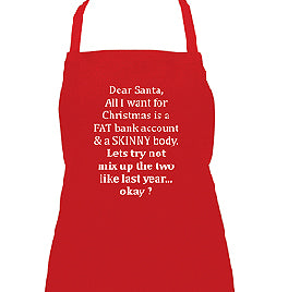 ANNABEL TRENDS All I Want For Christmas Skinny Apron Red