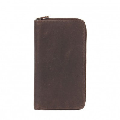 ZOOMLITE Vintage Leather RFID Arizona Ziparound Travel Wallet Brown