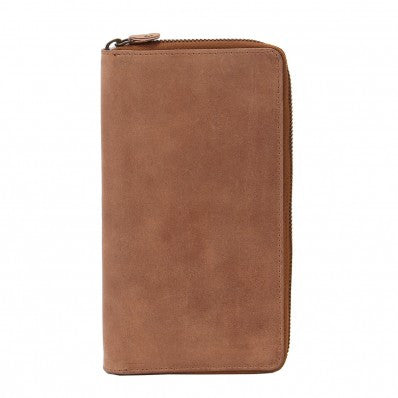 ZOOMLITE Vintage Leather RFID Arizona Ziparound Travel Wallet Camel