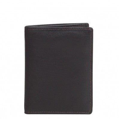 ZOOMLITE RFID Classic Leather Arlington Flap Card Note Sleeve Chocolate