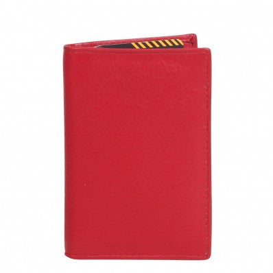ZOOMLITE Classic Leather RFID Arlington Vertical Card Holder Red