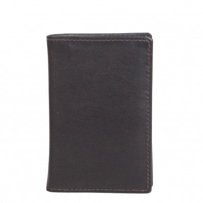 ZOOMLITE Classic Leather RFID Arlington Vertical Card Holder Chocolate