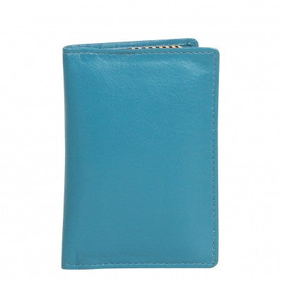 ZOOMLITE Classic Leather RFID Arlington Vertical Card Holder Turquoise