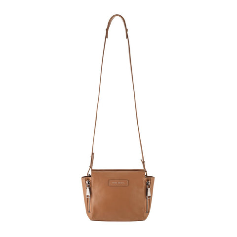 STATUS ANXIETY THE ASCENDANTS LEATHER SHOULDER BAG TAN WITH FREE WALLET
