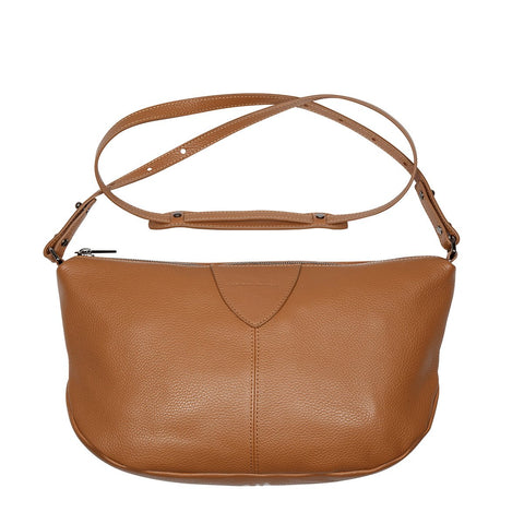 STATUS ANXIETY AT A LOSS LEATHER CROSSBODY/SHOULDER BAG TAN