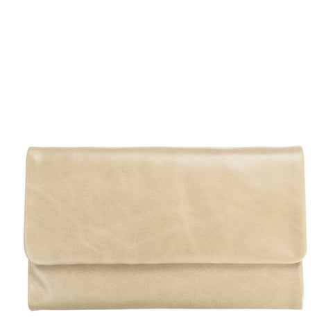 STATUS ANXIETY AUDREY LEATHER ZIP WALLET NUDE BEIGE