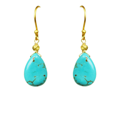 GENA MYINT gold Turquoise blue Tear Drop Earrings