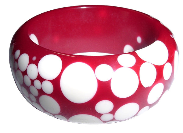 SOBRAL by Jackie Brazil Red White Polka Dot Polished Bangle