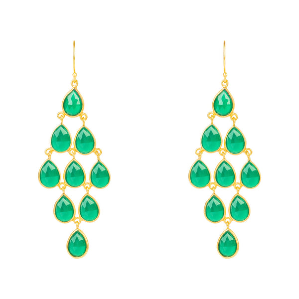 Latelita London Erviola Gemstone Cascade Earrings Gold Green Onyx