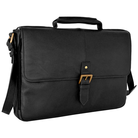 "Hidesign Charles Leather 15"" Laptop Compatible Briefcase Work Bag Black"