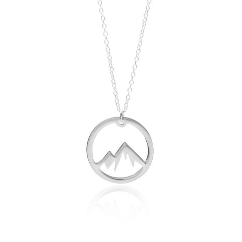 Sincerely Silver Circle Mountain Necklace Sterling Silver Adventure Necklace
