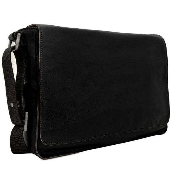 Hidesign Fred Leather Business Laptop Messenger Cross Body Bag Black
