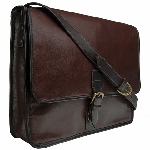 Hidesign Harrison Buffalo Leather Laptop Messenger Briefcase Brown