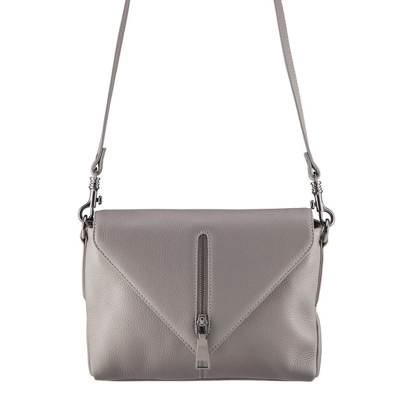 STATUS ANXIETY LEATHER EXILE SHOULDER BAG LIGHT GREY FREE WALLET